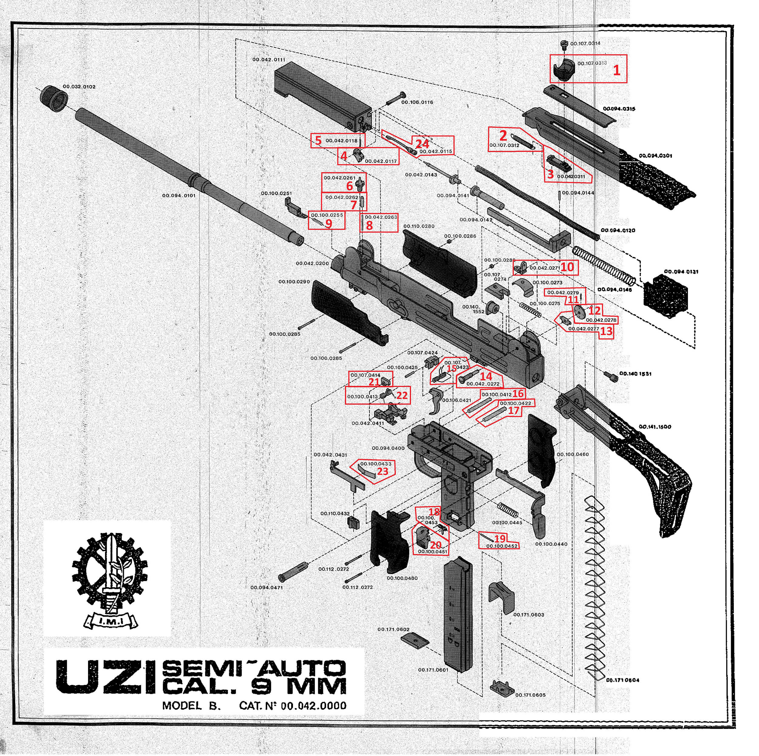 item #13 on the uzi® carbine model a exploded diagram